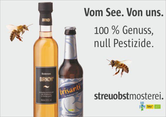 BIRNOH-Cider-Plakat mit zwei Bienen
